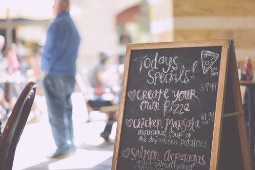 Chalkboard menu at deli